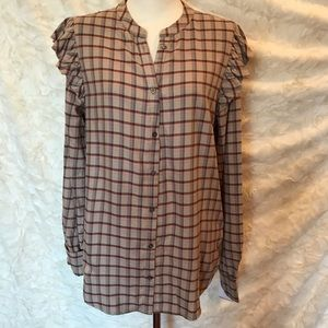 PAIGE woman's COTTON FLANNEL SHIRT. RUFFLED SZ M.